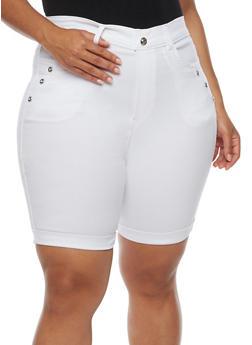 Plus Size Bermuda Shorts with Rhinestone Details - WHITE - 0960072719889