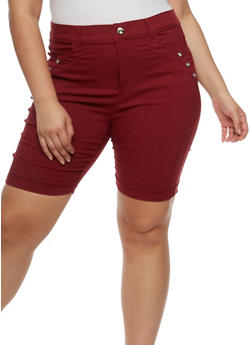 Plus Size Bermuda Shorts with Rhinestone Details - 0960072719889