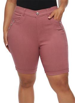 Plus Size Bermuda Shorts with Rhinestone Details - 0960072719889