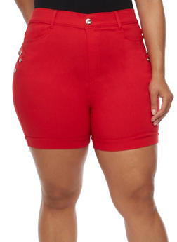 Plus Size Cuffed Bermuda Shorts with Rhinestone Details - 0960072719890