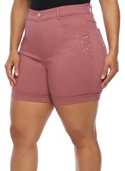 Plus Size Cuffed Bermuda Shorts with Rhinestone Details - 0960072719890