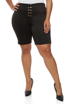 Plus Size Lace Up Bermuda Shorts - BLACK - 0960074015737