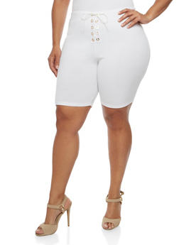 Plus Size Lace Up Bermuda Shorts - WHITE - 0960074015737