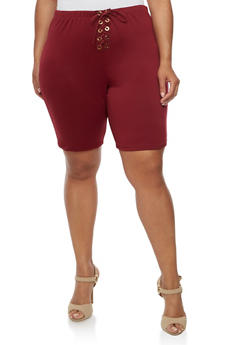 Plus Size Lace Up Bermuda Shorts - BUNDUNDY - 0960074015737