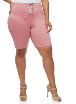 Plus Size Lace Up Bermuda Shorts - MAUVE - 0960074015737