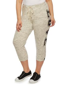 Plus Size Capri Joggers with Love Print - 0965001441098