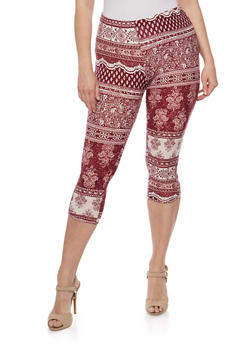 Plus Size Printed Leggings with Lattice Detail - 0965001441271