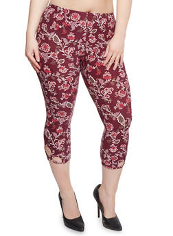Plus Size Floral Capri Leggings with Cutouts - 0965001441272