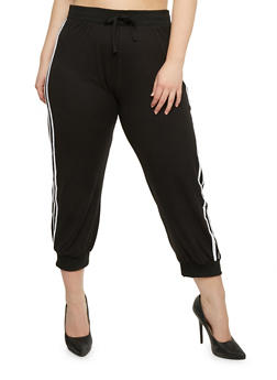 Plus Size Joggers with Varsity Striped Sides - 0965060581100