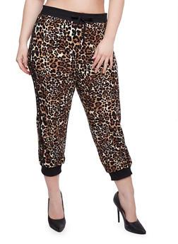 Plus Size Leopard Drawstring Joggers - 0965060581307