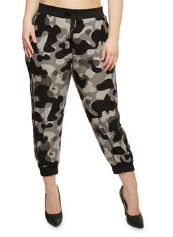 Plus Size Camouflage Joggers with Varsity Stripes - 0965060582700