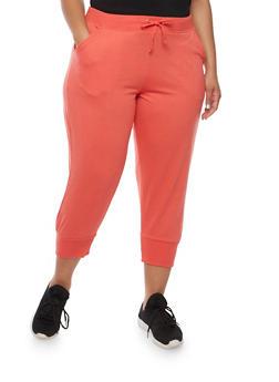 Plus Size Solid Capri Joggers - 0965062700059