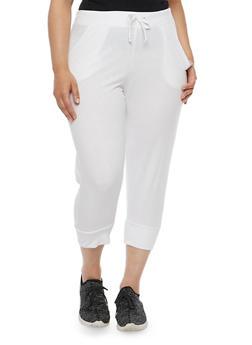 Plus Size Solid Capri Joggers - WHITE - 0965062700959