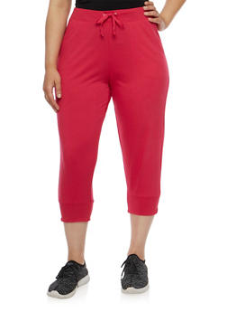 Plus Size Solid Capri Joggers - 0965062700959