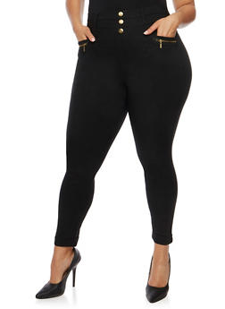 Plus Size Cuffed Pants with Zip Pockets - 0965072710698
