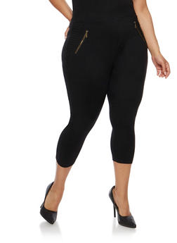 Plus Size Stretch Knit Capri Pants - 0965072716985