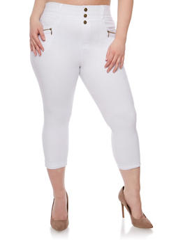 Plus Size High Waisted Stretch Knit Capri Pants - 0965072716989