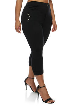 Plus Size Cuffed Capri Pants with Rhinestone Studs - 0965072719874