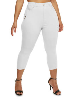 Plus Size Cuffed Capri Pants with Rhinestone Accent - WHITE - 0965072719874