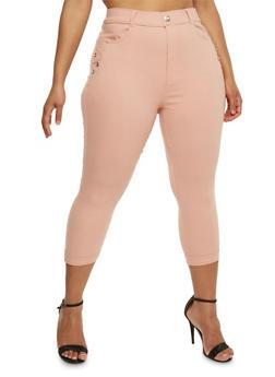 Plus Size Cuffed Capri Pants with Rhinestone Accent - BLUSH - 0965072719874