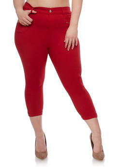 Plus Size Stretch Capri Pants with Zipper Detail - 0965072719875