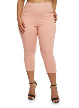 Plus Size Stretch Capri Pants with Zipper Detail - BLUSH - 0965072719875