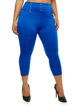 Plus Size High Waisted Capri Jeggings - 0965072719878