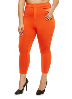 Plus Size Stretch Knit Capri Pants - 0965072719879
