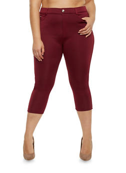 Plus Size Stretch Knit Capri Pants - BURGUNDY - 0965072719879
