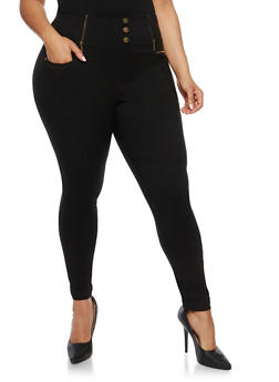Plus Size High Waisted Rolled Cuff Stretch Knit Pants - 0965072719891