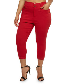 Plus Size Cuffed Capri Pants - 0965072719892