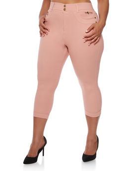 Plus Size Cuffed Capri Pants - BLUSH - 0965072719892