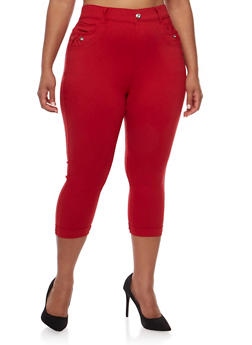 Plus Size Stretch Knit Pants with Rhinestone Accents - 0965072719893