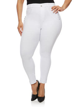 Plus Size Stretch Jeggings with Rhinestone Details - WHITE - 0965072719896