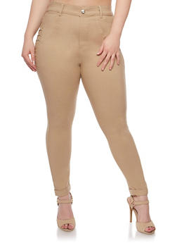 Plus Size Stretch Jeggings with Rhinestone Details - 0965072719896
