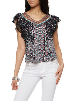 Printed Top with Mesh and Crochet Trim - 1001015998791