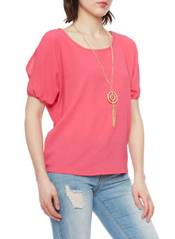 Solid Textured Knit Cold Shoulder Top with Necklace - 1001038348631