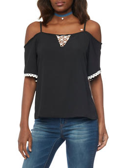 Crepe Cold Shoulder Blouse with Crochet Keyhole - 1001038348634