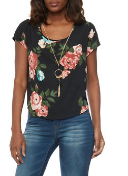 Crepe Floral Blouse with Necklace and Back Keyhole - 1001038348641