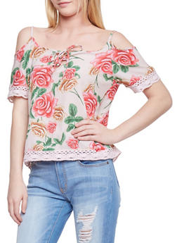 Floral Cold Shoulder Top with Crochet Trim - 1001038348644