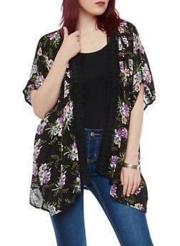 Floral Print Crochet Trim Kimono - 1001038349326