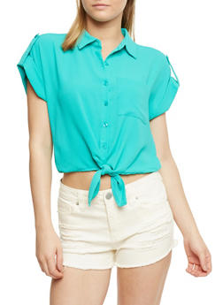 Short Sleeve Button Front Top - 1001051061371