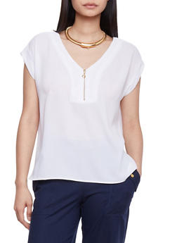 Short Sleeve Crepe Top with Zip Neck - WHITE - 1001051061373