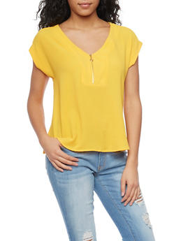 Short Sleeve Crepe Top with Zip Neck - 1001051061373
