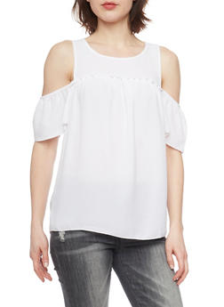 Crepe Knit Short Sleeve Cold Shoulder Top - WHITE - 1001051061700