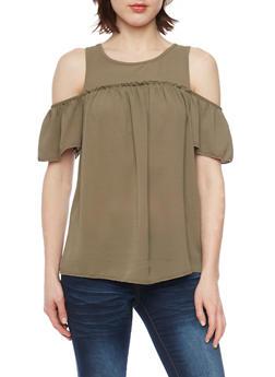 Crepe Knit Short Sleeve Cold Shoulder Top - OLIVE - 1001051061700