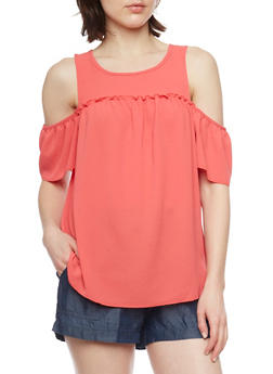 Crepe Knit Short Sleeve Cold Shoulder Top - 1001051061700