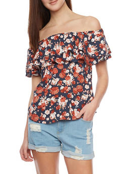 Floral Double Ruffle Off the Shoulder Top - 1001051068683