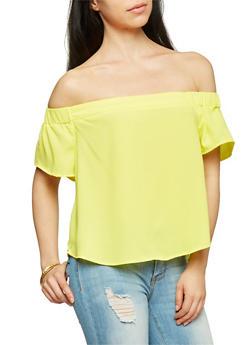 Off the Shoulder Short Sleeve Blouse - 1001051068916