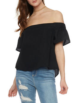 Solid Off the Shoulder Crop Top - 1001051068917